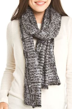 B&B Couture Studded Skull Sequin Two Tone Scarf in Black and Gray - Beyond the Rack#BTR