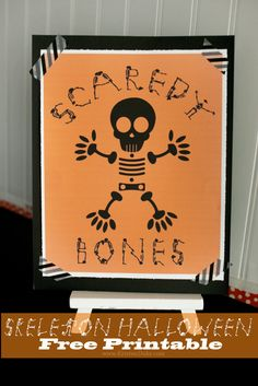Skeleton Halloween Printable, a quick and easy 5 minute craft project for the holiday. www.KristenDuke.com