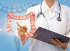 Doctor shows colon . Doctor shows colon on a blue background , Doctor Shows, Creative Icon, Blue Backgrounds, Cancer, Health, Plants, Icons, Graphics, Natural