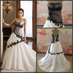 2014 New Design Strapless Appliques Taffeta A-line Black Lace Wedding Dresses $239.00