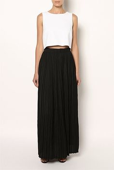 Witchery | Crop Top Maxi Dress | flowing maxi skirt style, the voluminous skirt is paired against a sleek crop top, joined only at the back to show a peek of middrift.