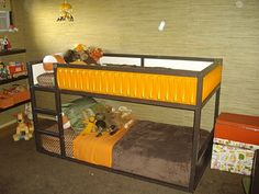 Another Kura bed makeover with yellow and brown. Rough--this is from ikea--maybe for the girls? Ikea Bunk Beds Kids, Bunk Beds With Storage, Kid Beds, Ikea Kids, Ikea Hacks, Ikea Bed Hack, Bed Ikea, Ikea Kura Hack, Luxurious Bedrooms