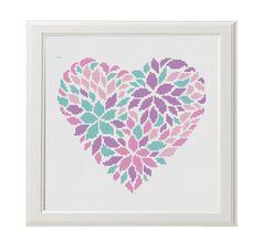 Flower heart Cross Stitch Printable PDF Pattern Pink purple