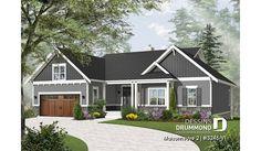 Version couleur no. 5 - Vue avant du plan de maison unifamiliale 3246-V1