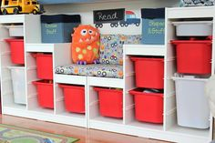 The shelves are two Trofast systems from IKEA:  http://www.ikea.com/us/en/catalog/categories/departments/childrens_ikea/