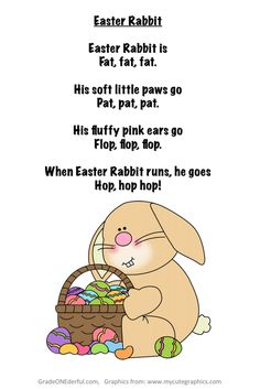 A free Easter Poem suitable for early primary grades. A colour version and two black and white versions. Clipart is from MyCuteGraphics.com.