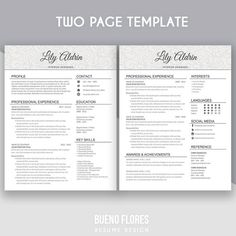 introducing lily aldrin an elegant feminine multipurpose design which includes a two page resume - Two Page Resume
