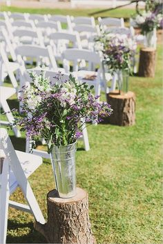 rustic purple wedding ceremony aisle decor / http://www.deerpearlflowers.com/country-rustic-wedding-ideas-and-themes/
