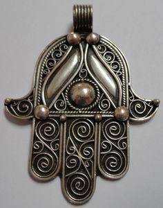 SILVER Moroccan Berber Hamsa Hand Amulet Talisman Evil Eye PENDANT- hand made | eBay