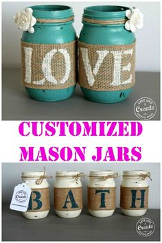 Customized Mason Jars- DIY Home Decor! – Kim D'Ewart Letourneau Customized Mason Jars- DIY Home Decor! So many great ideas for customizing mason jars for just about anything! Mason Jar Projects, Mason Jar Crafts, Bottle Crafts, Diy Projects, Burlap Mason Jars, Fall Mason Jars, Mason Jar Candles, Crafts To Sell, Home Crafts