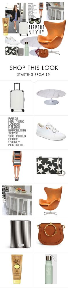 """""""#airportstyle #simple #classicstyle #lounger #travelstyle #travel n sea"""" by cielshopinteriors ❤ liked on Polyvore featuring CalPak, Rove Concepts, ADZif, ECCO, Dolce&Gabbana, STELLA McCARTNEY, Ciel, Henri Bendel, Chloé and Sun Bum"""
