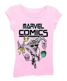 Light Pink 'Marvel Comics' Tee - Girls
