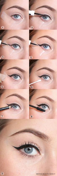 Using tape to create a winged liner is one of the best beauty hacks for the holidays. (Best Eyeliner For Tightlining)