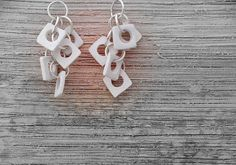 White Wedding Squares Earrings Porcelain Jewelry  by bininaor, $46.00