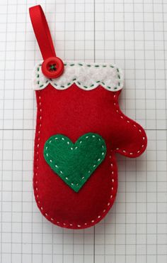 DIY Cozy Red Mitten Ornament KIT by StampandScrap on Etsy