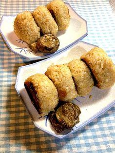 たくあんとかなかったので、なすのオイル漬けを添えて。 - 7件のもぐもぐ - 味噌焼きおにぎり by tabimoka