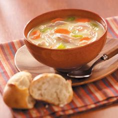 """Homemade Turkey Soup Recipe - """"You can make the most of even the smallest pieces of leftover meat on your holiday turkey. This soup gets a wonderful rich flavor. The hearty broth is creamy and full of rice and vegetables. Creamy Turkey Soup, Homemade Turkey Soup, Leftover Turkey Soup, Turkey Leftovers, Turkey Gravy, Leftovers Recipes, Soup Recipes, Cooking Recipes, Healthy Recipes"""