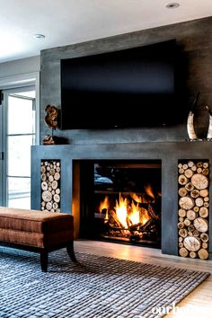 Living Room Decor Fireplace, Home Fireplace, Fireplace Remodel, Fireplace Design, Home Living Room, Living Room Designs, Fireplace Ideas, Gas Fireplaces, Concrete Fireplace