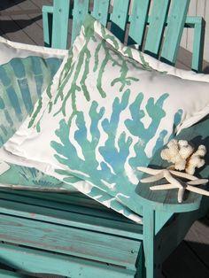 "Outdoor pillow TWO CORALS 20"" painted green and blue coastal ocean beach shelling SCUBA marine aquarium tropical Crabby Chris Original"