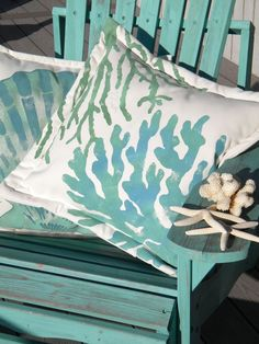 "Two corals pillow 20"" painted aqua turquoise green celadon coastal ocean beach shelling SCUBA marine aquarium tropical cottage bungalow  crabbycris"