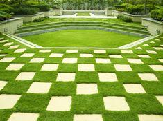 Checkered brick and grass design