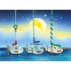 Ho Ho Ho Sailboats Christmas Cards, 18 Cards And 18 Embossed Envelopes