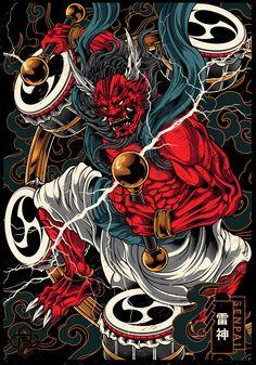 Japanese Art Styles, Japanese Artwork, Japanese Tattoo Art, Japanese Tattoo Designs, Japanese Modern, Japon Illustration, Graphic Design Illustration, Raijin Tattoo, Irezumi Tattoos