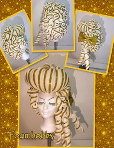 White and gold Foam Wigs, Wig Hat, Workshop, Paper Crafts Origami, Wig Making, Headgear, Headdress, Beauty And The Beast, Masks