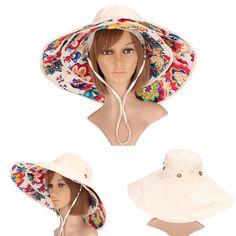 Women Ladies Anti-UV Sun Protective Caps Wide Brim Reversible Floppy Sun Hat Beach