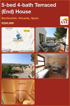Terraced (End) House for Sale in Benitachell, Alicante, Spain with 5 bedrooms, 4 bathrooms - A Spanish Life Independent Kitchen, Juliet Balcony, Alicante Spain, Double Bedroom, Patio Doors, French Doors, Townhouse, Terrace, Entrance