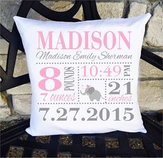 Girls Birth Announcement Pillow  Elephant 14 x 14 by SewCuteByMe