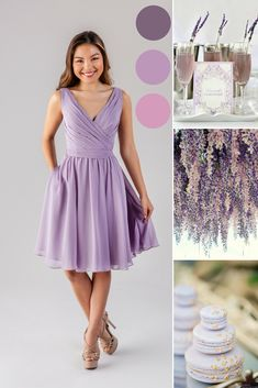 French Lilac and Blush Wedding   Short Bridesmaid Dresses   Faith   Kennedy Blue