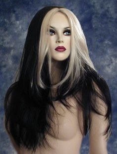 LILY MONSTER BLACK W/ WHITE STREAK SILKY LONG WIG WIGS | eBay (maybe get a wig like this and move the hair to the side to test the long hair version and trim it up to simulate a pixie cut version)
