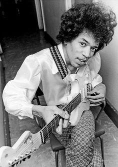 Jimi Hendrix photographed at London's Saville Theatre, 1966.