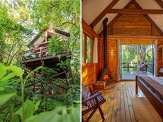 10 cosy cabins and cottages for a winter break Treehouse Cabins, Treehouses, Ideas De Cabina, Forest Sounds, Eco Cabin, Large Curtains, Tree Camping, House Tent, Jacuzzi Outdoor