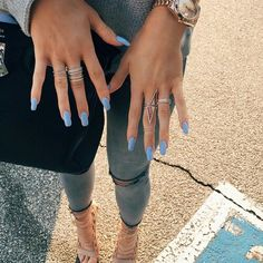 Long violet squared acrylic nails