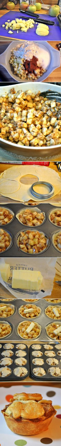 Mini Apple Pies. Cut 8 cups Apples into 1/2 in bits, mix with 12 tbsp flour, 1 1/2 cups sugar, 4 heaping tsp cinnamon, and 1/4-1/2 tsp nutmeg.  Cut chiled NOT frozen pie crust, fill pan, place slice of butter ontop. Cover with left over dough, brush w/ melted butter  bake at 400 for 18-22 min.