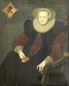 Anonymous | Portrait of a Woman, Anonymous, 1603 | Portret van een vrouw. Kniestuk, zittend in een stoel, een boekje in de rechterhand. Linksboven het familiewapen. Pendant van SK-A-968.