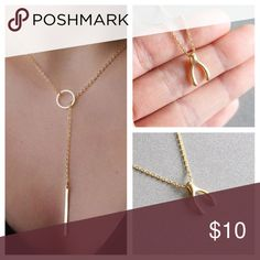 Gold wishbone and gold bar necklaces Get both necklaces, gold wishbone and a gold bar necklace. Open to reasonable offers. Not free people just brand for exposure. Elegant and minimal. Free People Jewelry Necklaces