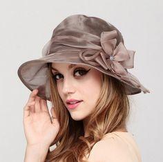 Summer UV flower design silk bucket hats for women