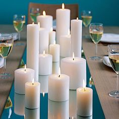 I like candles instead of/in addition to flowers for centerpieces