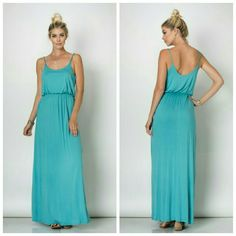 *New* Fabiana Maxi Dress 95% Viscose 5% Spandex  Spaghetti strap gathered waist maxi dress  Made in USA Majestii Dresses Maxi
