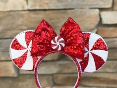 Made to order Peppermint ears with bow with led bow xmas ears image 1 Disney Minnie Mouse Ears, Diy Disney Ears, Disney Diy, Disney Crafts, Disney Trips, Disney Stuff, Disney Parks, Disney Headbands, Flower Headbands
