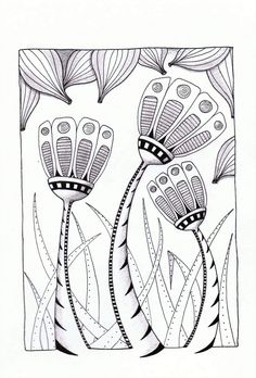 18 Ideas for drawing flowers zentangle embroidery Zentangle Drawings, Doodles Zentangles, Doodle Drawings, Doodle Art, Zantangle Art, Zen Art, Doodle Patterns, Zentangle Patterns, Motif Art Deco