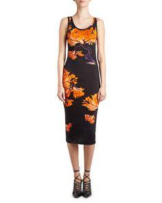 GIVENCHY Floral-Print Jersey Tank Dress, Black/Orange. #givenchy #cloth #