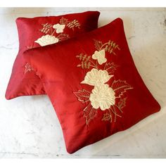 (SKU no: kmic 2005a) 2 Elegant Hand Embroidered Floral Design Dark Red Color Throws Pillow Cushion Covers, Krishna Mart India