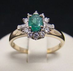 14K-YELLOW-GOLD-RING-NATURAL-35-CT-OVAL-EMERALD-26-CTTW-DIAMOND-2-6g-SIZE-6-75