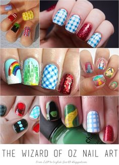 Wizard Of Oz Nail Art Stunning Wizard of Oz nail art!Stunning Wizard of Oz nail art! Nail Art Cute, Cute Nails, Pretty Nails, Manicure Y Pedicure, Manicure At Home, Nail Polish, Gel Nails, Dot Nail Designs, Nails Design