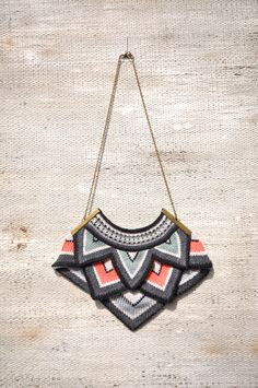 Large Point Knitted Necklace - Striped.