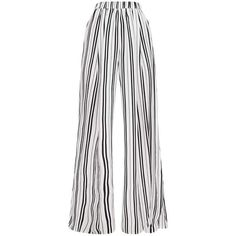 White Formal Stripe Wide Leg Trouser ($45) ❤ liked on Polyvore featuring pants, stripe pants, white wide leg trousers, striped trousers, white stripe pants and wide-leg trousers